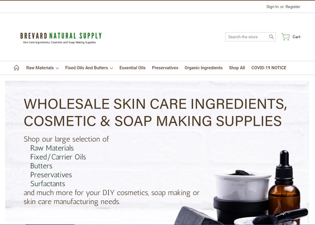 homepage of brevard natural supply